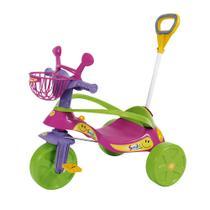Triciclo Smile Confort Elite Rosa com Haste Articulada Biemme -