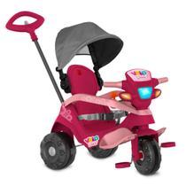 Triciclo velobaby reclinável c/ capota passeio & pedal (pink) - bandeirante -