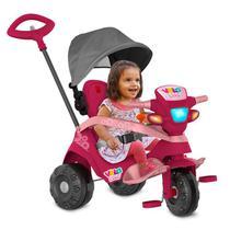 Triciclo Velobaby Reclinável Com Capota Passeio e Pedal Pink 339 Bandeirante -