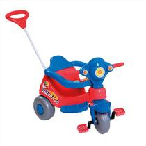 Triciclo Velocita Calesita Com Empurrador Azul E Vermelho -