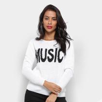 Tricô Fast Glam Suéter Tricot Music Feminino -