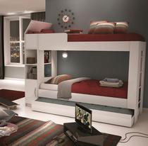 Triliche Branco com cama auxiliar 1 porta prateleiras e escada CM 15  Ditália Móveis -