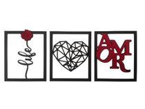 Trio de quadros Life Amor com Acrílico Espelhado em Madeira MDF Aplique de Parede - Império Das Artes