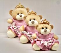 Trio De Ursinhos Para Nichos 15cm 20cm 25cm Coroa - Princesa - Luckbaby