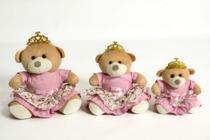 Trio De Ursinhos Para Nichos - P 15cm M 20cm G 25cm Coroa Princesa Rosa - Anjo Ninho