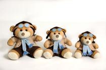 Trio De Ursos Para Nichos - P 15cm M 20cm G 25cm Aviador Azul Claro - Anjo Ninho