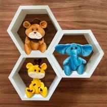 Trio de Ursos Para Nichos Tema Amiguinhos Safari Ursinhos de Pelúcia Decoração Quarto de Bebê Infantil - Milori Baby