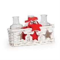 Trio Mini Garrafas Incolor em Caixa Branco (Cerâmica Wishes)Kit com 3 Peças - Natal