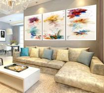 Trio quadros decorativos abstratos floral moldura mosaico - Neyrad