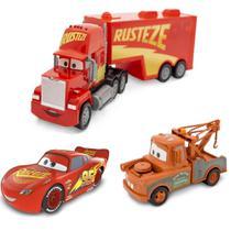 Trio Radical Carros Disney Pixar - Mcqueen, Mate e Mack Cars - Toyng