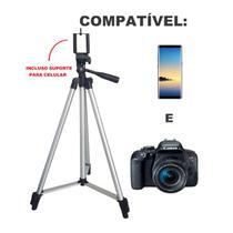 Tripé Câmera para Celular Altura 150 cm Nível Bolsa e Suporte de Brinde TM 3150 - Teem