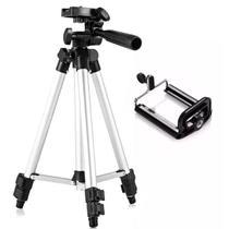 Tripé De Alumínio Para Câmera Fotográfica e Celular Profissional Universal 120 Cm Prata - Lx