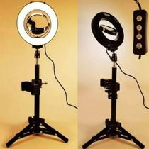 Tripé Ring Light Iluminação Led com Espelho Gravar Video Celular MLG-0664 - Tomate -