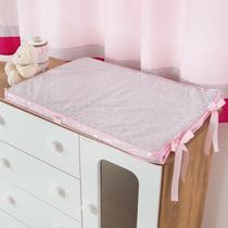 Trocador de Comoda para Bebê 100% Algodão Cinza com Rosa - Bruna Baby