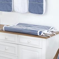 Trocador de Fraldas Anatômico para Bebê Plastificado Chambray Azul Jeans e Branco - Aime
