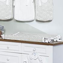Trocador de Fraldas Anatômico para Bebê Plastificado Coelhos Branco e Cinza - Aime