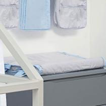 Trocador de Fraldas Anatômico para Bebê Plastificado Geométrico Azul Cinza e Branco - Aime