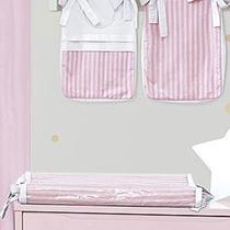 Trocador de Fraldas Anatômico para Bebê Plastificado Listrado Rosa e Pink - Aime