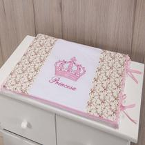 Trocador Para Cômoda De Bebe 02 Peças 70cm x 50cm Tecido Misto  Menina Princesa Imperial - Rosa - Gaby Baby Enxovais