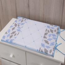 Trocador Para Cômoda De Bebe 02 Peças 70cm x 50cm Tecido Misto Menino Nuvem - Azul Claro - Gaby Baby Enxovais