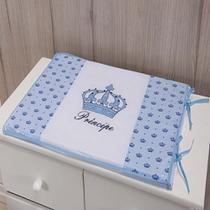 Trocador Para Cômoda De Bebe 02 Peças 70cm x 50cm Tecido Misto  Menino Príncipe Imperial - Azul Claro - Gaby Baby Enxovais