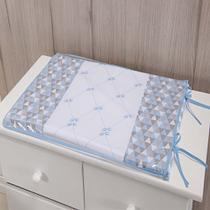 Trocador Para Cômoda De Bebe 02 Peças 70cm x 50cm Tecido Misto Menino Urso - Azul Claro - Gaby Baby Enxovais