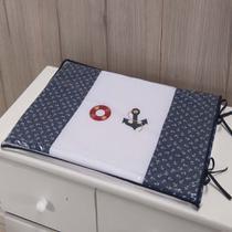 Trocador Para Cômoda De Bebe 02 Peças 70cm x 50cm Tecido Misto Menino Urso Marinheiro - Azul marinho - Gaby Baby Enxovais