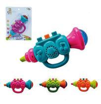 Trompete Musical Infantil Baby Brinca Bebe Colors Com Luz A Pilha Na Cartela Wellkids - Wellmix
