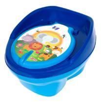 Troninho Musical Penico Peniquinho Azul Novo Styll Baby 2 em 1 pinico e vira banquinho bichinhos floresta -