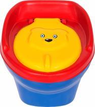 Troninho Musical Urso Infantil Pinico Para Bebe 2 Em 1 Azul/Vermelho - Styll Baby -