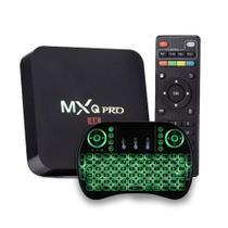 Tv Bx Midia Streaming MXQ-Pro 4k + Mini Teclado Universal Smart Tv Com Led - Ott