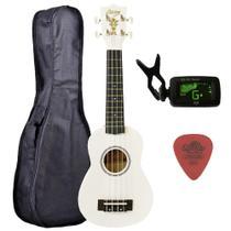 Ukulele Branco Seven Soprano Suk-07 Wh C/ Capa e Afinador - Seven Guitars
