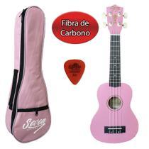 Ukulele Colorido Rosa Fibra de Carbono Seven SUKFB-07 PI - Seven Guitars