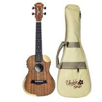 Ukulele Elétrico Seizi Bora Bora Crush Koa Concert Bag -