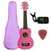 Ukulele Pink  Seven Soprano Suk-07 PK + Capa e Afinador - Seven Guitars