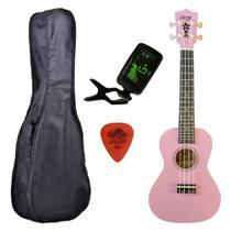 Ukulele Rosa Seven Concert  Suk-23 PI C/ Capa e Afinador - Seven Guitars