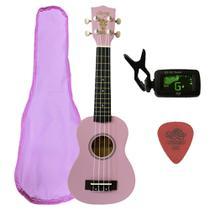 Ukulele Rosa Seven Soprano Suk-07 PI C/ Capa e Afinador - Seven Guitars