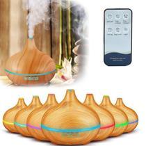 Umidificador Ar Aromatizador Difusor Aroma Madeira Fake Colorido Abajur 7 Cores Led 400ml Com Controle -