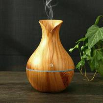 Umidificador Ultrassônico Usb Madeira Difusor Aroma Led Formato Vaso -