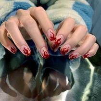 Unha postiça chamas vermelho/transparente para aplicar - Nails