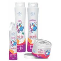 Unicórnio kit completo 4 produtos shampoo - condicionador - máscara - leave-in spray belkit -