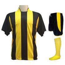 Uniforme Esportivo com 12 Camisas modelo Milan Preto/Amarelo + 12 Calções modelo Copa Preto/Amarelo + 12 Pares de meiões Amarelo - Play fair