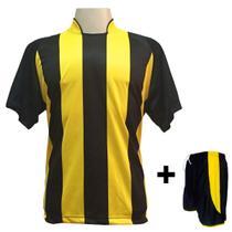 6f0df6aec3e32 Uniforme Esportivo com 12 Camisas modelo Milan Preto Amarelo + 12 Calções  modelo Copa Preto Amarelo
