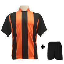 114c6e32ba Uniforme Esportivo com 12 camisas modelo Milan Preto Laranja + 12 calções  modelo Madrid + 1 Goleiro + Brindes