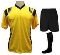 Uniforme Esportivo com 12 Camisas modelo Roma Amarelo Preto + 12 Calções  modelo Madrid Preto + 12 Pares de meiões Preto 590b8fba51e68