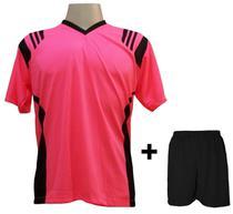 c81ecced80d59 Uniforme Esportivo com 12 camisas modelo Roma Rosa Preto + 12 calções  modelo Madrid +