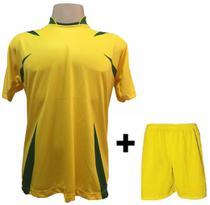a7746b41d6 Uniforme Esportivo com 14 camisas modelo Palermo Amarelo Verde + 14 calções  modelo Madrid Amarelo + Brindes