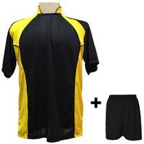 02ac35fb6b Uniforme Esportivo com 14 camisas modelo Suécia Preto Amarelo + 14 calções  modelo Madrid + 1 Goleiro + Brindes