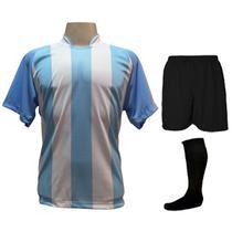 b6e9b5eb6b Uniforme Esportivo com 18 camisas modelo Milan Celeste Branco + 18 calções  modelo Madrid Preto + 18 pares de meiões Preto
