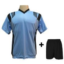 Uniforme Esportivo com 18 camisas modelo Roma Celeste Preto + 18 calções  modelo Madrid + 1 Goleiro + Brindes ecd177f339c40